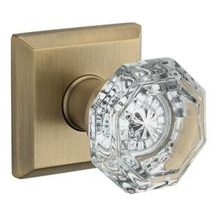 Crystal Passage Door Knob with Traditional Square