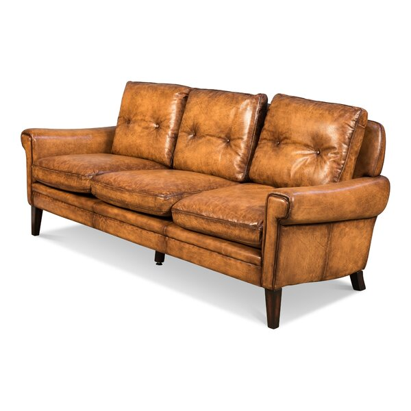 Aaron Leather Sofa by 17 Stories