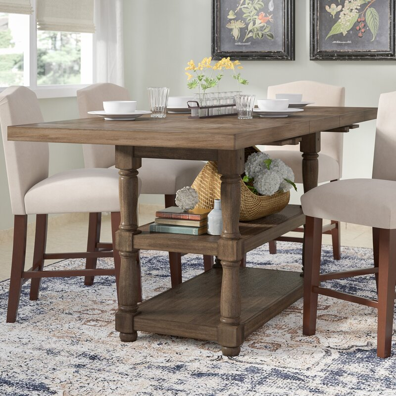 Counter Height Kitchen Table With Bench In Preferential: Fortunat Counter Height Extendable Dining Table & Reviews
