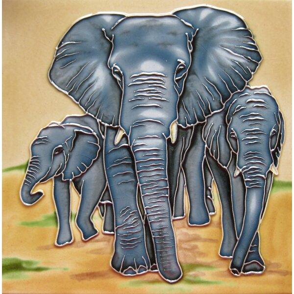 4 x 4 Ceramic Three Elephants Decorative Mural Tile by Continental Art Center