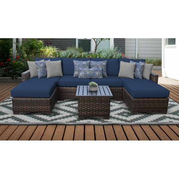 River Brook 7 Piece Outdoor Wicker Patio Furniture Set 07a by kathy ireland Homes & Gardens by TK Classics