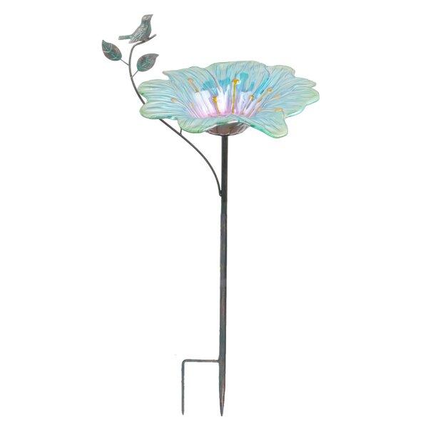 Metallic Flower Garden Stake Decorative Bird Feeder by Continental Art Center