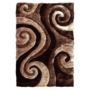 3d shaggy abstract swirl brown area rug