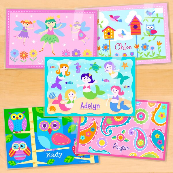 Girls 5 Piece Personalized Placemat Set by Olive Kids