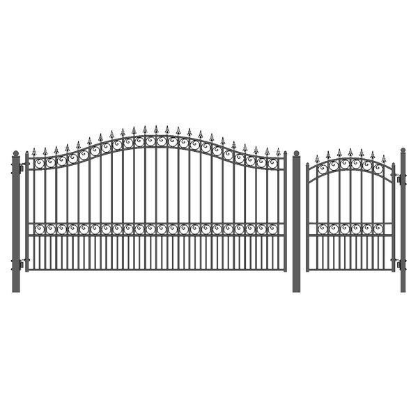London Steel Single Swing Driveway Gate with Pedestrian Gate by ALEKO