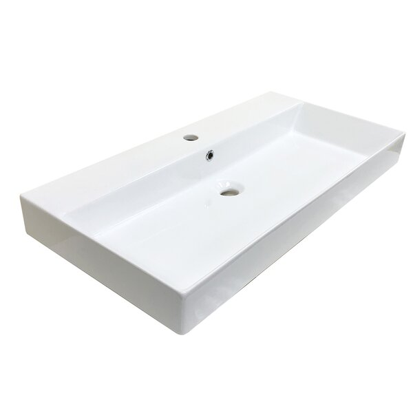 Energy Ceramic Rectangular 33.5 Wall Mount Bathroom Sink with Overflow by WS Bath Collections