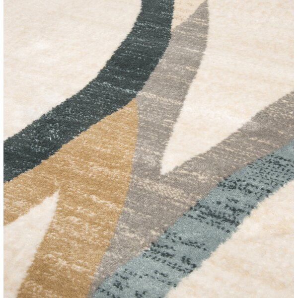 Contemporary Curves Beige/Black Area Rug by Plymouth Home