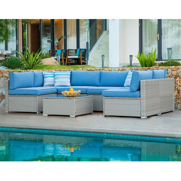 Audrey 7 Piece Sectional Seating Group with Cushions by Bayou Breeze