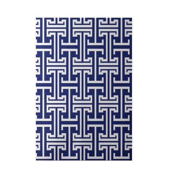 Greek Isles Geometric Print Blue Suede Indoor/Outdoor Area Rug by e by design