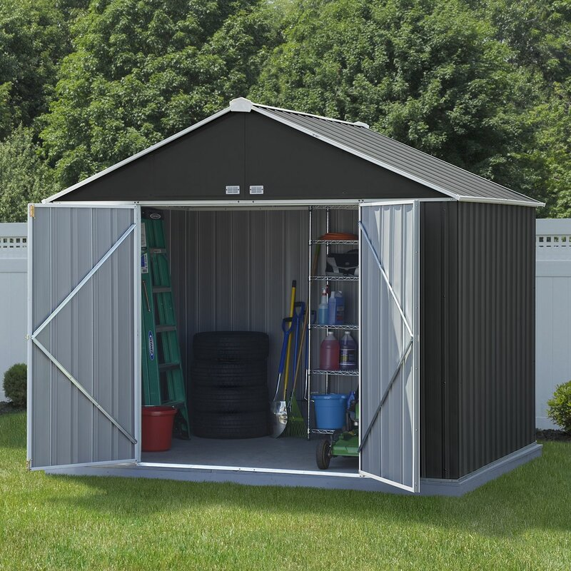 Arrow ezee 9 ft 10 in w x 8 ft 2 in d metal storage for Large backyard sheds