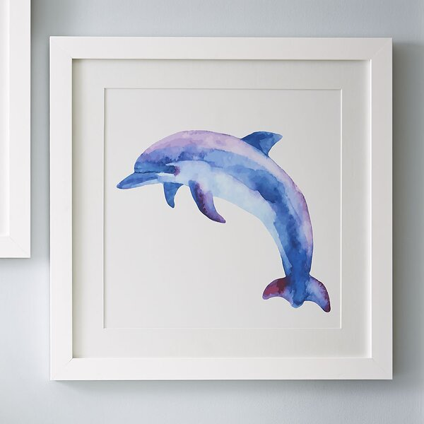 Dolphin Watercolor Sea Mammals Framed Print by Birch Lane Kids™