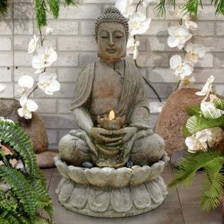 Buddha Fiberglass Serenity Fountain with LED Light by Alpine