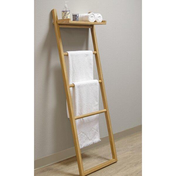 Spa Teak Ladder Towel Stand with Shelf by Asta Furniture, Inc.