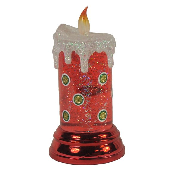 Red Shimmering Polka Dot Christmas Flameless Candle by Penn Distributing