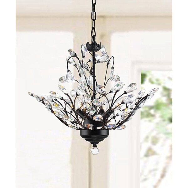 Wallenstein Leaves 4-Light  LED Candle Style Chandelier by Astoria Grand
