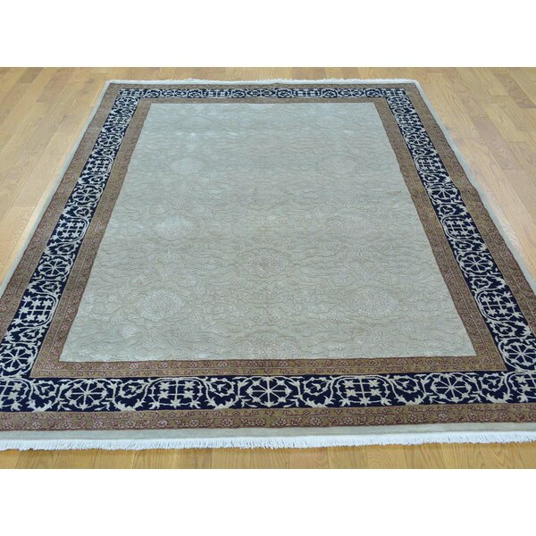 One-of-a-Kind Benally Hand-Knotted Gray Wool/Silk Area Rug by Isabelline