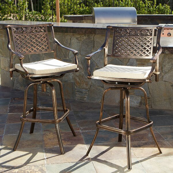 Ragon 29.5 Patio Bar Stool with Cushion (Set of 2) by Astoria Grand
