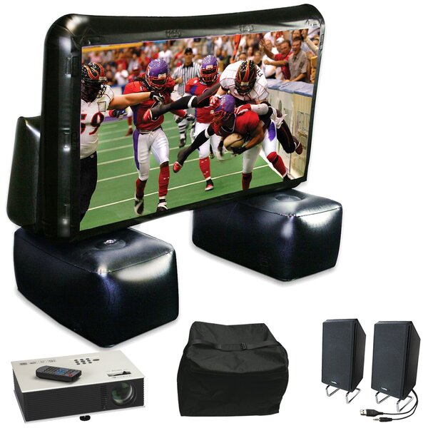 Instant Theater Inflatable White 72 Portable Projection Screen with Projector, Speaker & Carry Bag by Artistic Products