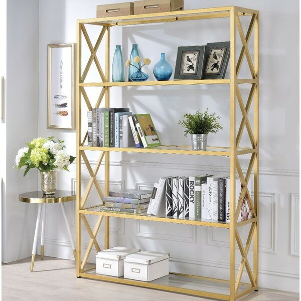 Gast Glass Metal Standard Bookcase by Everly Quinn
