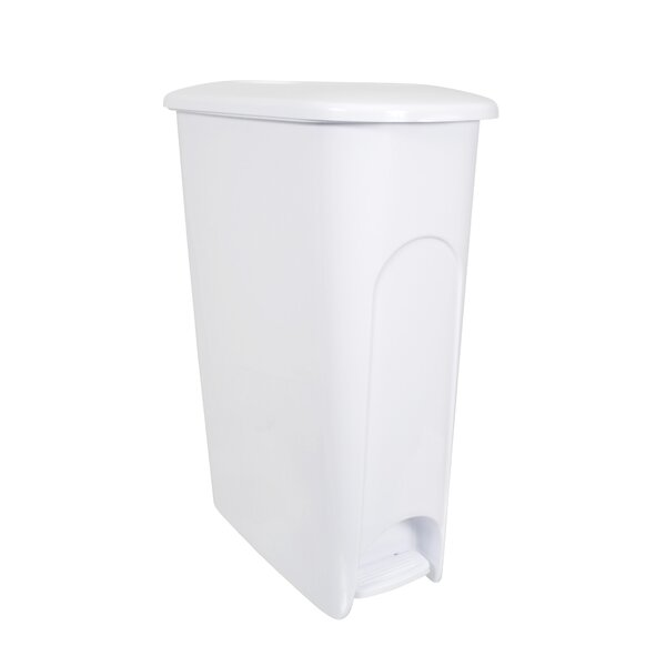 Slim Profile Plastic 10.8 Gallon Step On Trash Can (Set of 4) by Hefty