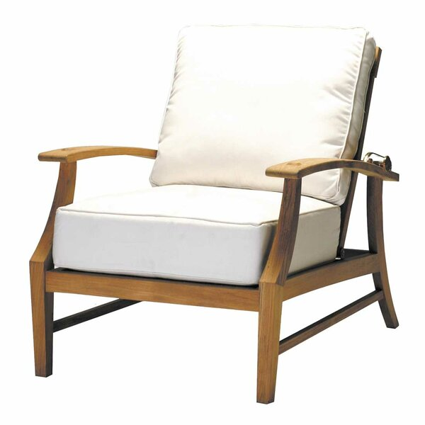 Croquet Teak Recliner Patio Chair with Cushions by Summer Classics