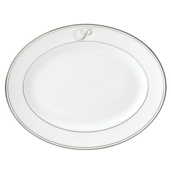 Federal Platinum Monogram Script Bone China Platter by Lenox