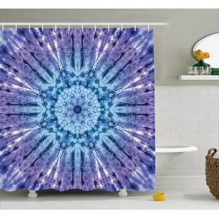 Nice Audenried Tie Dye Original Circle Mandala Motif Centered Vibrant Spectral  Color Motion Graphic Shower Curtain
