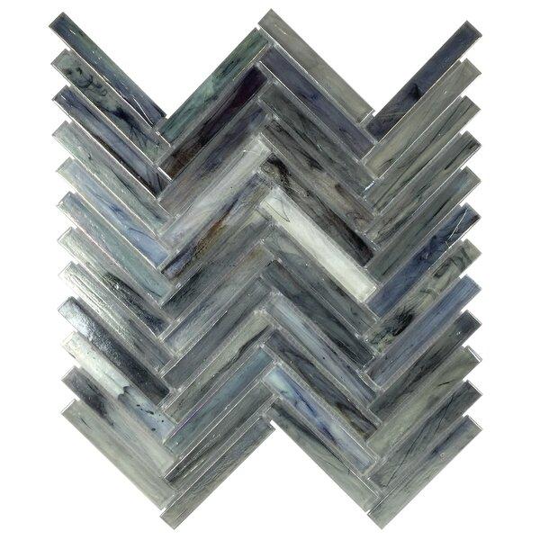 Acuto 11.1 x 11.3 Glass Mosaic Tile in Dark Blue by Byzantin Mosaic
