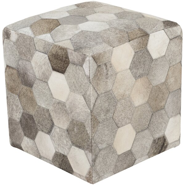 Sideling Hill Leather Pouf by Loon Peak