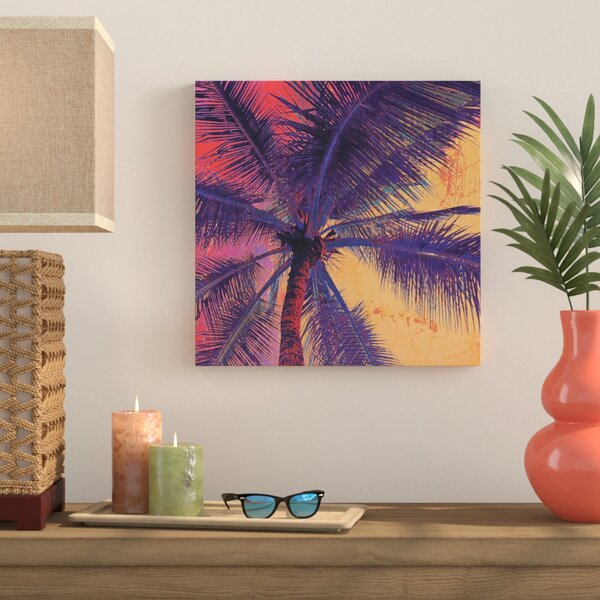 Palm Tree Sunset Painting Print on Wrapped Canvas by Bay Isle Home