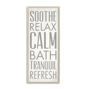 'Soothe Relax Calm Bath' Textual Art on Wood by Zipcode Design