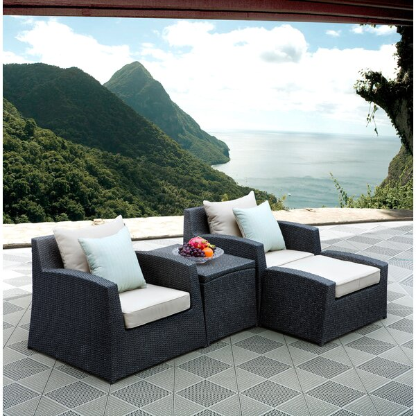 Hercules 4 Piece Lounge Chair Set with Cushions by Latitude Run