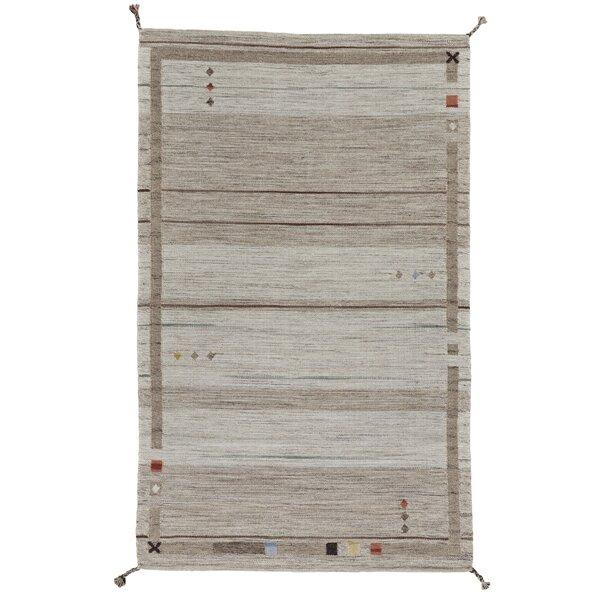 Ewalt Flat Woven Wool Sand Area Rug by Ebern Designs