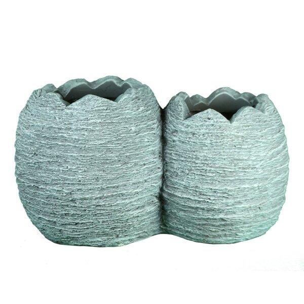 Cronk Textured 2-Piece Composite Pot Planter Set by World Menagerie