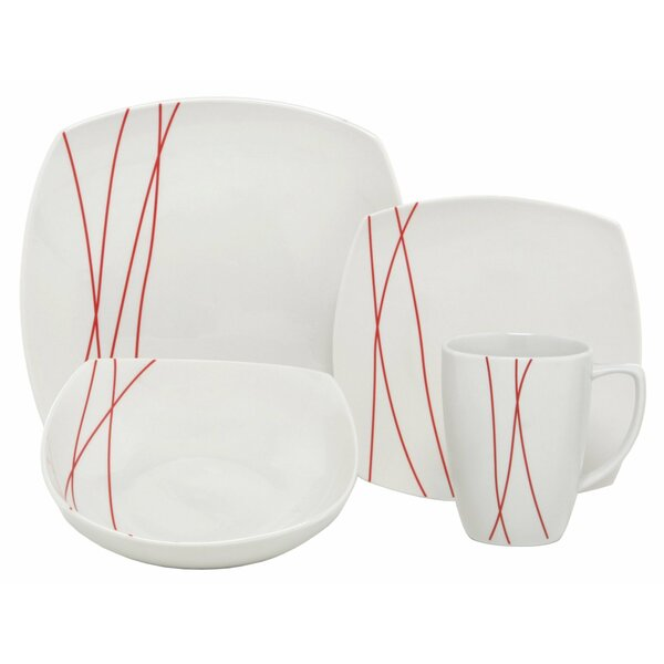 Lines Square Porcelain 16 Piece Dinnerware Set, Service for 4 by Melange