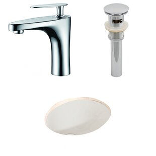 Compare prices Ceramic Oval Undermount Bathroom Sink with Faucet and Overflow By American Imaginations