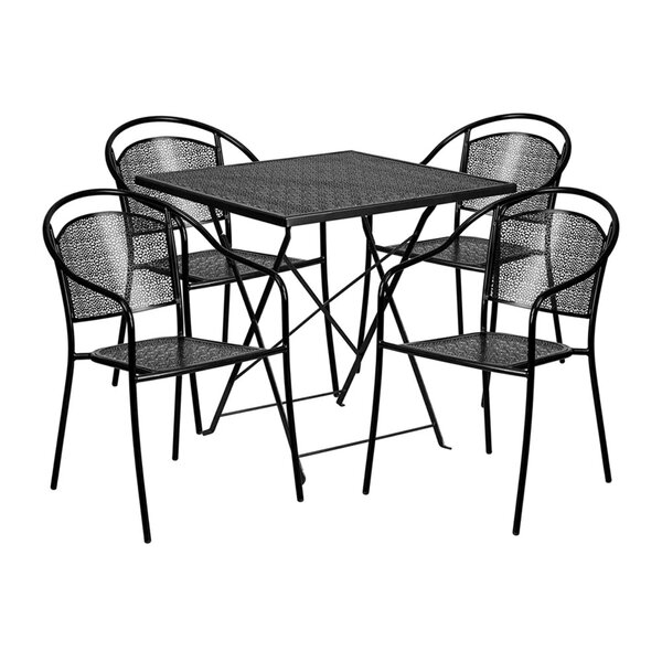 Indira Outdoor Steel 5 Piece Dining Set by Ebern Designs