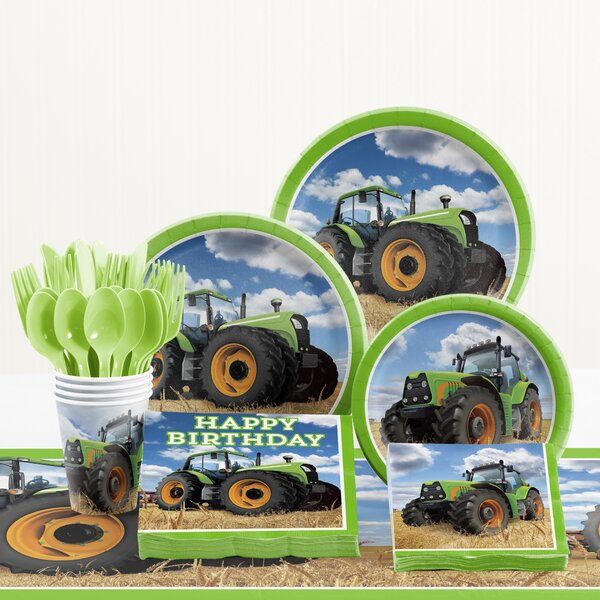 81 Piece Tractor Time Birthday Paper Plastic Tableware Set By Creative Converting.