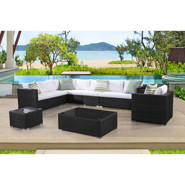 Grena 7 Piece Rattan Sectional Seating Group with Cushions by Brayden Studio