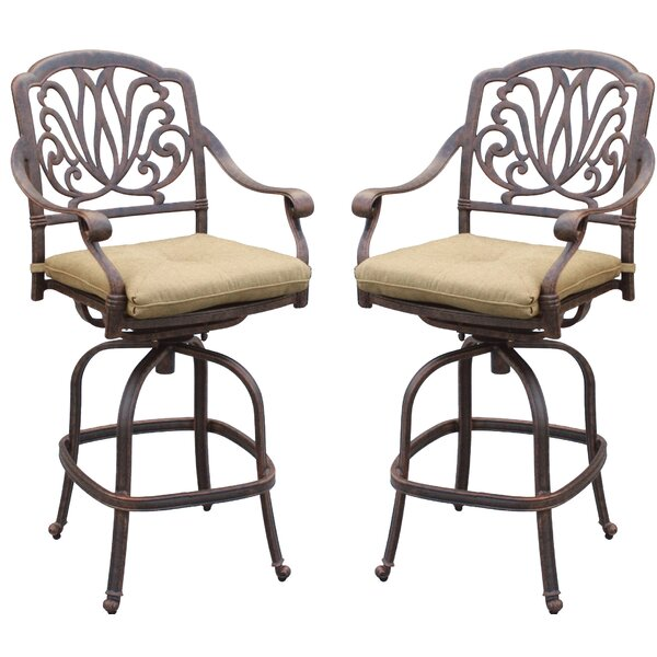 Lebanon 51 Patio Bar Stool with Cushion (Set of 2) by Three Posts