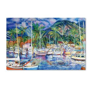 'Lahaina Marina' Painting Print on Wrapped Canvas by Highland Dunes