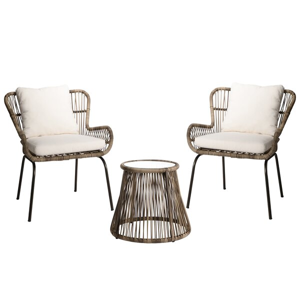 Jordy 3 Piece Rattan Seating Group with Cushions by Bayou Breeze