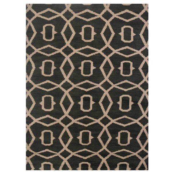 Frisange Geometric Hand-Knotted Wool Green/Beige Area Rug by Brayden Studio