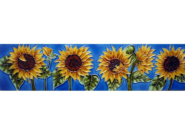 Horizontal Sunflower Tile Wall Decor by Continental Art Center