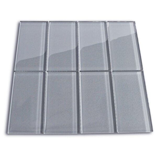Nickel 3 x 6 Glass Mosaic Tile in Ice Gray by CNK Tile