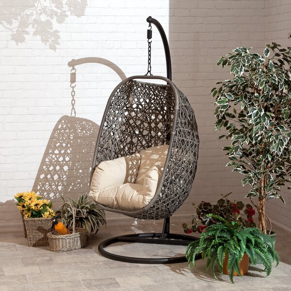 Gurganus Cocoon Patio Chair with Cushion by Bungalow Rose Bungalow Rose