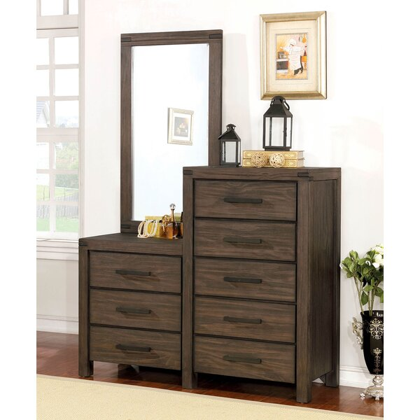 Brogdon Wooden 8 Drawer Double Dresser With Mirror By Union Rustic by Union Rustic
