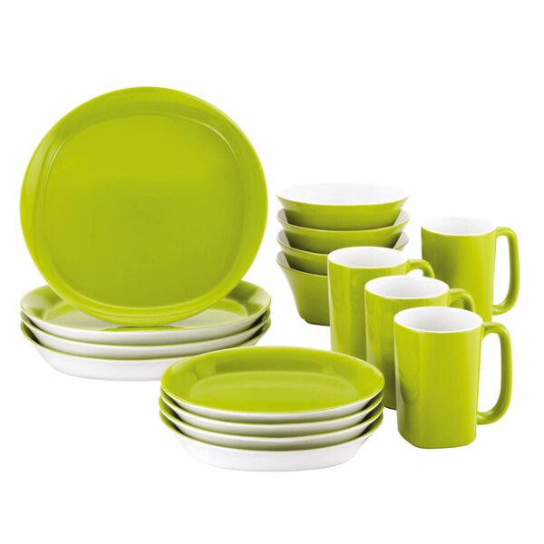 Round & Square 16 Piece Dinnerware Set Service for 4 by Rachael Ray