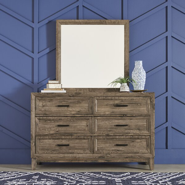 Rhoton 6 Drawer Double Dresser with Mirror by Union Rustic