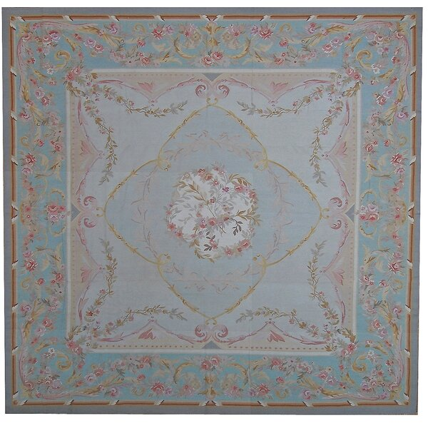 Aubusson Hand-Woven Wool Blue/Brown Area Rug by Pasargad